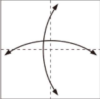 Bước 1: Gấp tờ giấy lại làm bốn sau đó lại mở ra để tạo nếp gấp