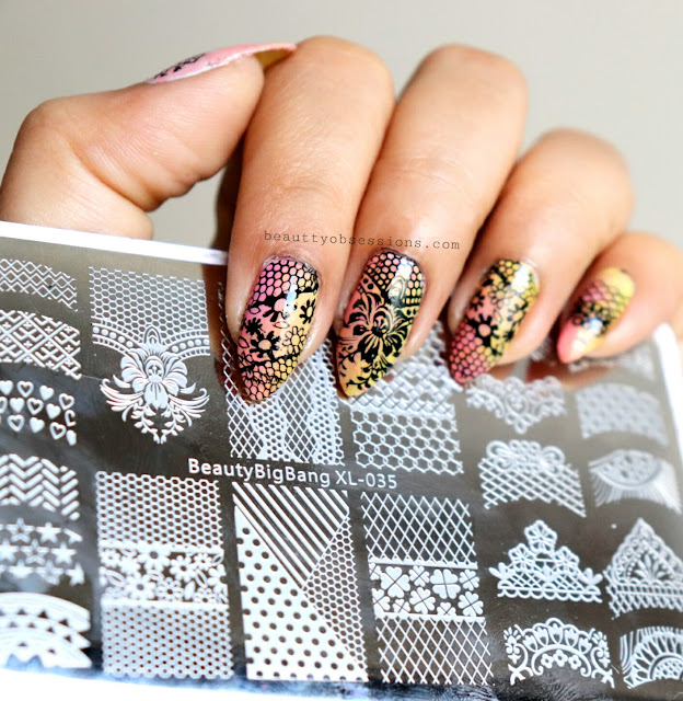 Flower Stamping Nailart Using Beautybigbang Rectangular Flower Theme Stamping Plate.. (video inside)