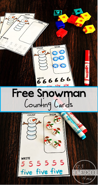 FREE Snowman Counting Cards - this winter math activity for toddler, preschool, and kindergarten age kids is such a fun, hands on way to visualize counting, practice writing numbers and number words, and more. Perfect for a math center, home preschool, homeschool, and more.
