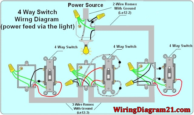 4%2Bway%2Blight%2Bswitch%2Bwiring%2Bdiagram%2Bwith%2Bpower%2Bfeed%2Bvia%2Blight 3 switches 3 lights wiring diagram 4 way switch wiring diagram A Light Switch Wiring at virtualis.co