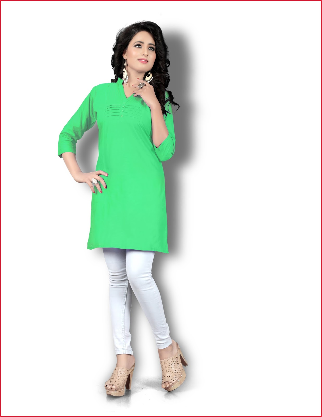 3984eda4c4 Formal Kurti - Plain Stylish Cambric Cotton Kurti - Helix Enterprise