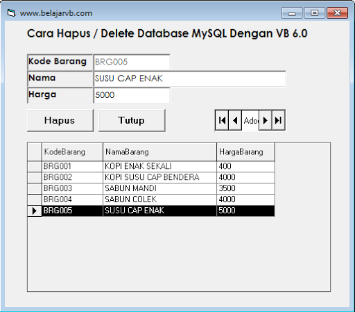 Coding Menghapus Database MySQL Menggunakan VB 6.0