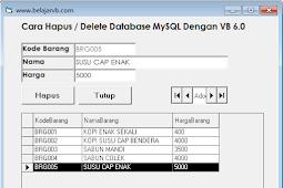 Source Code Menghapus Data di Database MySQL Menggunakan VB 6.0