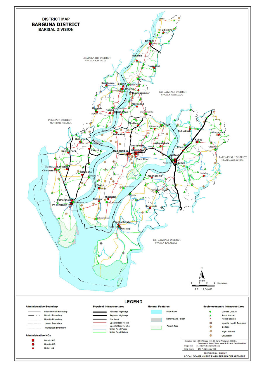 Barguna District Map Bangladesh