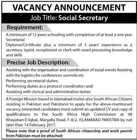 Islamabad Foreign Mission Social Secretary Jobs 8 Feb 2017