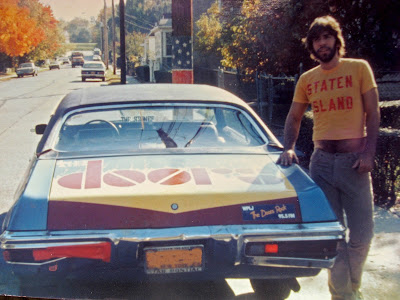 Tommy Mondello's first car with Doors mural painted on the trunk 1981