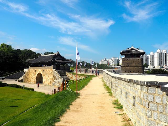 Hwaseong fortress walls around Suwon, Gyeonggi-do, South Korea