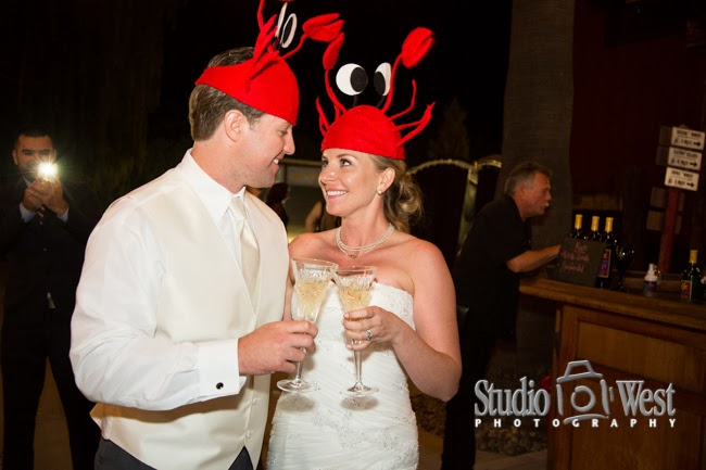 Bride and Groom with Lobster Hats on