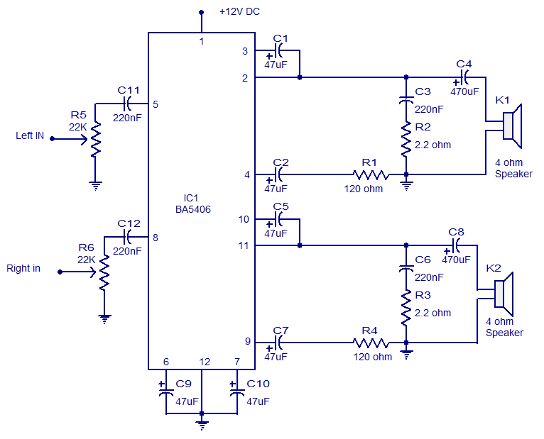circuit diagram 10w mini audio amplifier