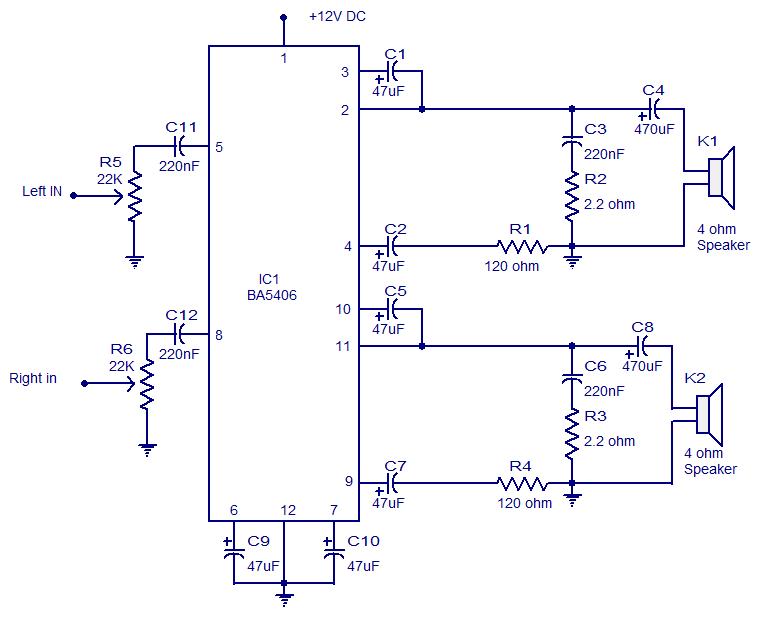 circuit diagram 10w mini audio amplifier