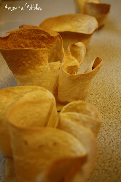 Tostadas shells waiting to be filled
