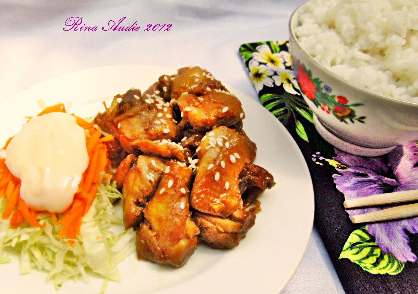 Tumis kol,buncis dan wortel dengan tempe dan bakso saus tiram