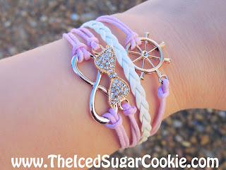 Pink And White Rhinestone Bow  Infinity Sign Ship Steering Wheel Leather Bracelet by The Iced Sugar Cookie