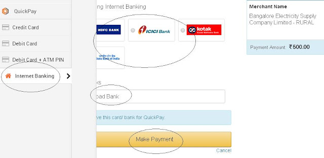 BESCOM Online Payment by internet banking