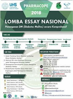 PHARMACOPE 2018, Lomba Essay Nasional Mahasiswa di UNS