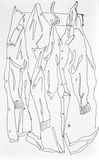 Ink sketch of lab coats