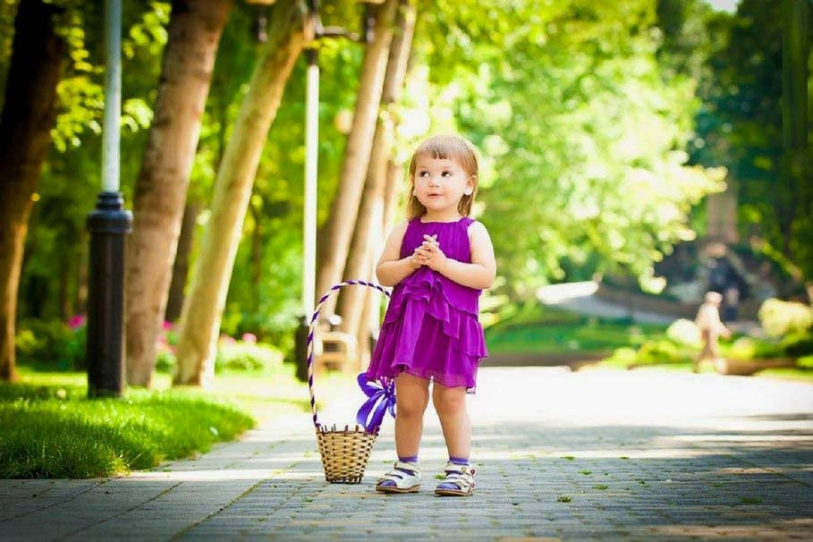 sweet girl in park garden