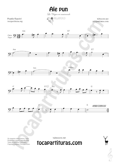 Violonchelo y Fagot Partitura de Ale Pun Sheet Music for Cello and Bassoon Music Scores