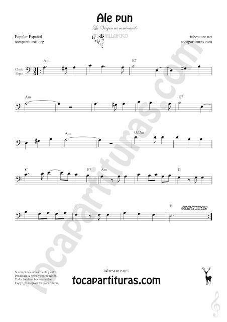 Violonchelo y Fagot Partitura de Ale Pun Sheet Music for Cello and Bassoon Music Scores