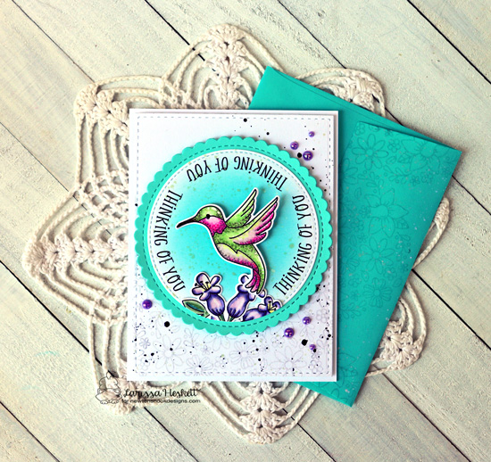 Thinking of You Card by Larissa Heskett | Hummingbird Stamp Set, Floral Roundabout Stamp Set and Circle Frames Die Set by Newton's Nook Designs #newtonsnook #handmade