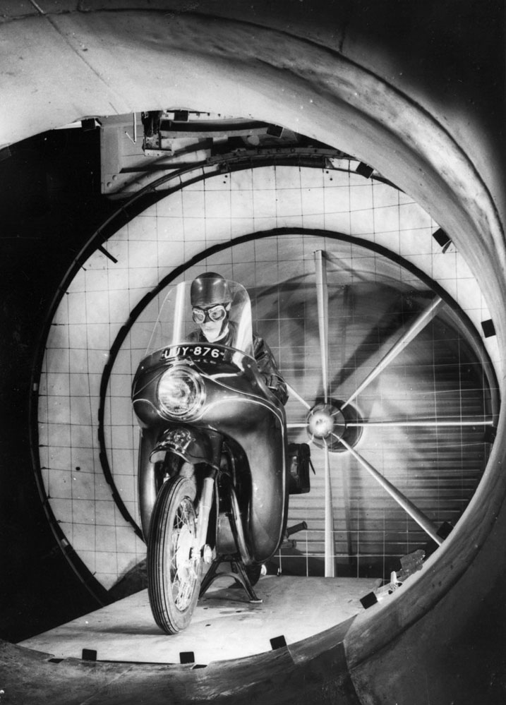 Motorcycle in wind tunnel.