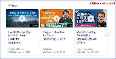 videos on google search results