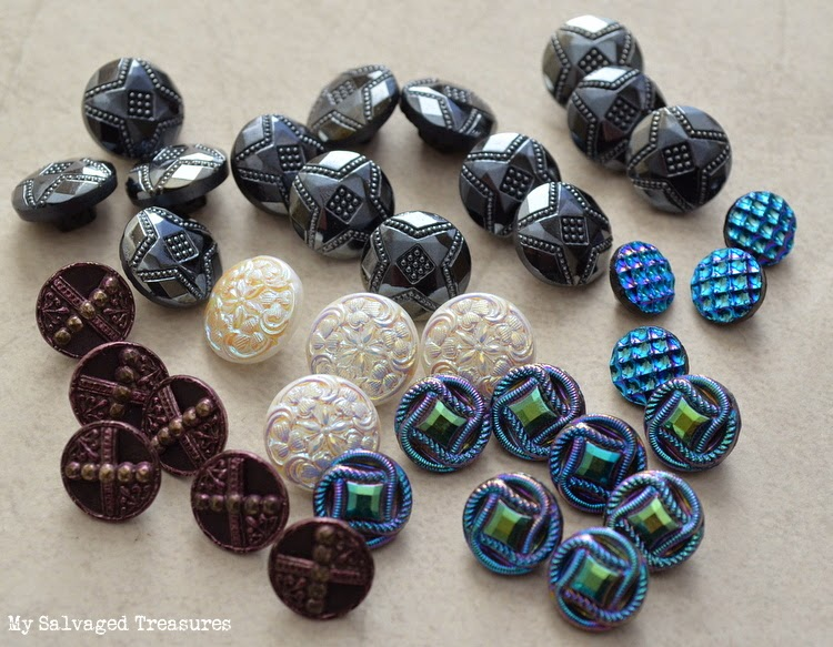 vintage steel buttons Czech glass buttons