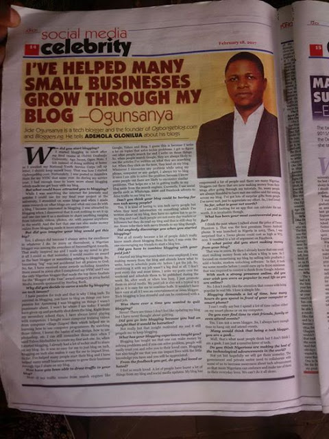 Popular Blogger Jide Ogunsanya Was Published On Nigerian Top Newspaper, The Punch