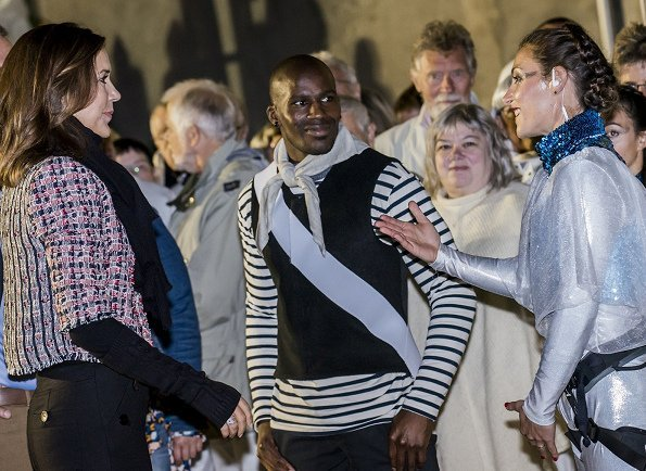 Crown Princess Mary wore-Yde Jacket in Orange. Aarhus Cultural Capital of Europe in 2017 Water Music show