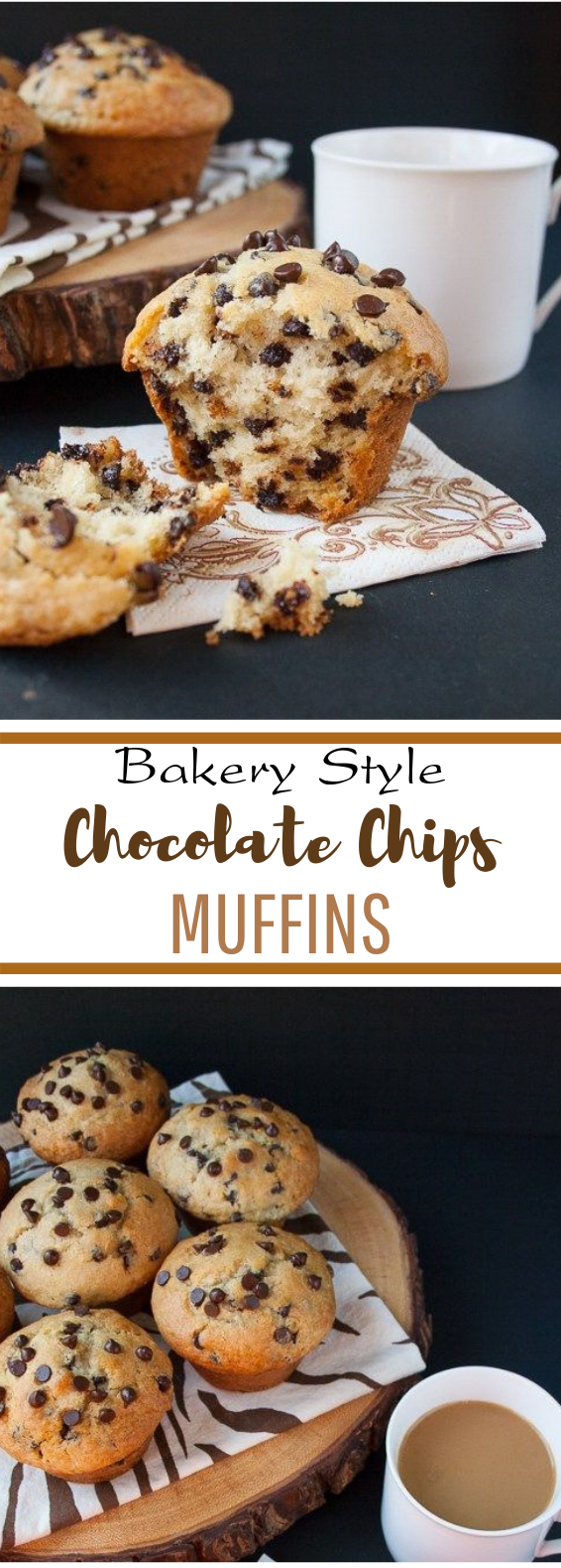 Bakery Style Chocolate Chip Muffins #chocolate #dessert