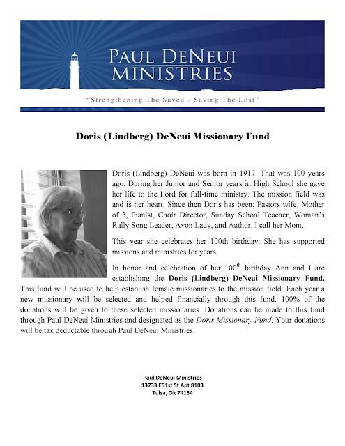 Doris (Lindberg) DeNeui Missionary Fund