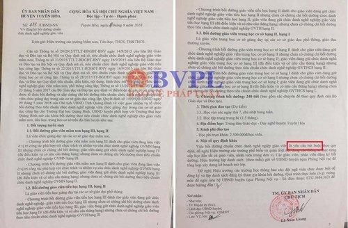 Trực tiếp Chủ tịch UBND huyện Tuyên Hóa cũng ký văn bản