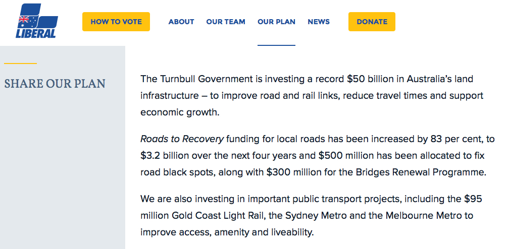 ACT Light Rail: 2016 Federal election Public Transport funding