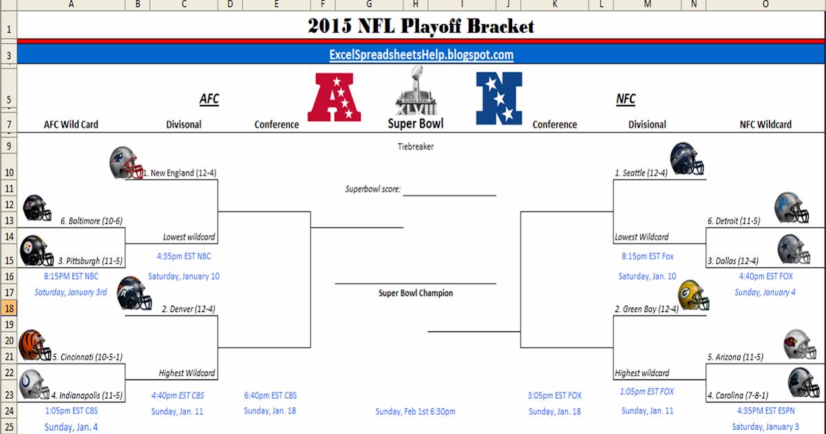 graphic regarding Printable Nfl Bracket known as Excel Spreadsheets Aid: Printable 2015 NFL Playoff Bracket
