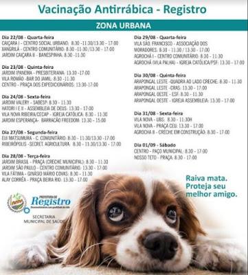 Secretaria de Saúde de Registro-SP inicia vacinação contra raiva em cães e gatos neste 13/08