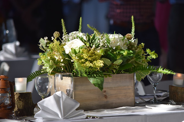 woodlands floral design, forest centerpiece, camping floral, wood box centerpiece