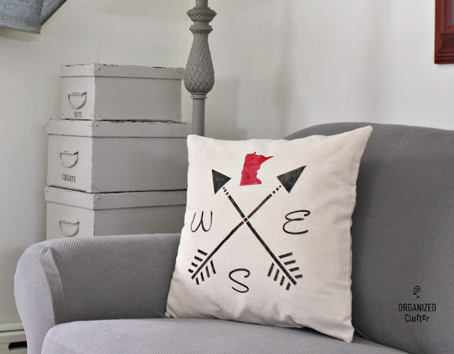 Easy And Inexpensive Stenciled Pillow Covers #stencil #statepride #minnesotapride #pillowcover