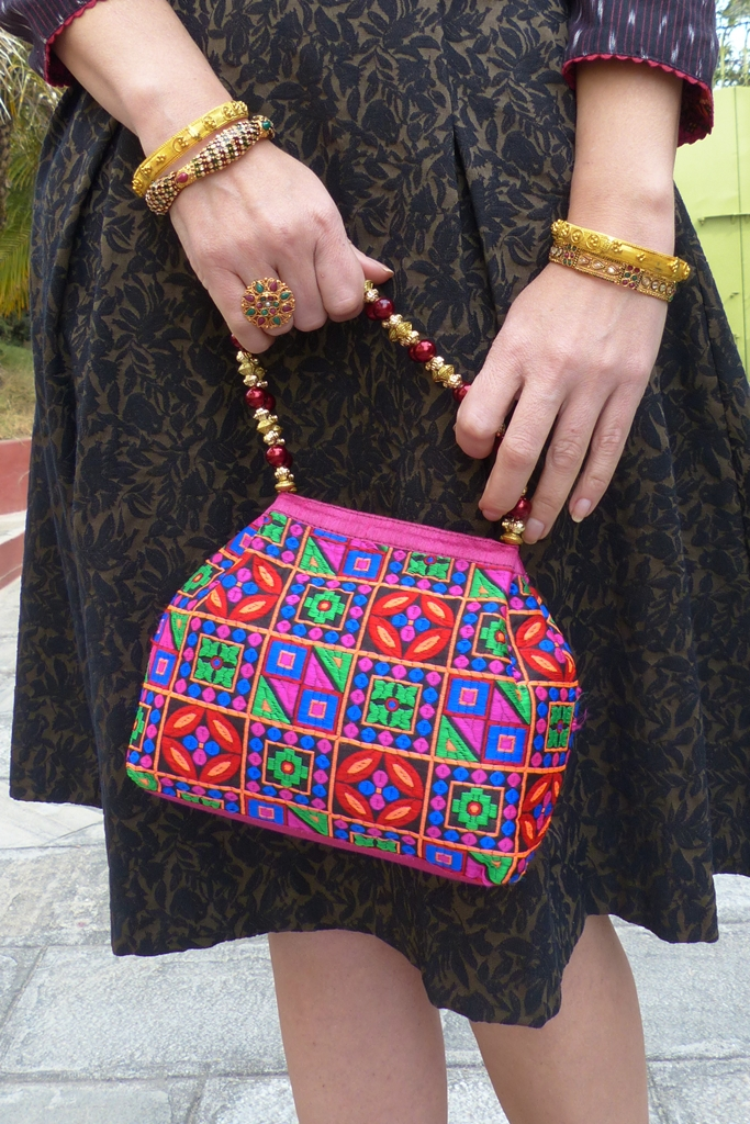 Ethnic embroidered bag, bangles, multi stone ring