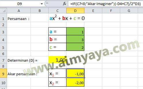 Penyelesaian Persamaan Kuadrat Rumus Abc Di Excel Cara Aimyaya Cara Semua Cara