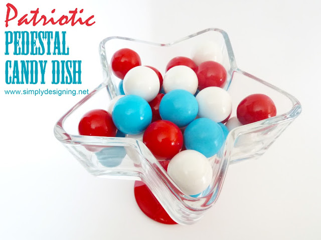 Star Pedestal Candy Dish - perfect candy dish for the 4th of July and so simple to make!!  #4thofjuly #memorialday #star #starsandstripes #redwhiteandblue #patriotic