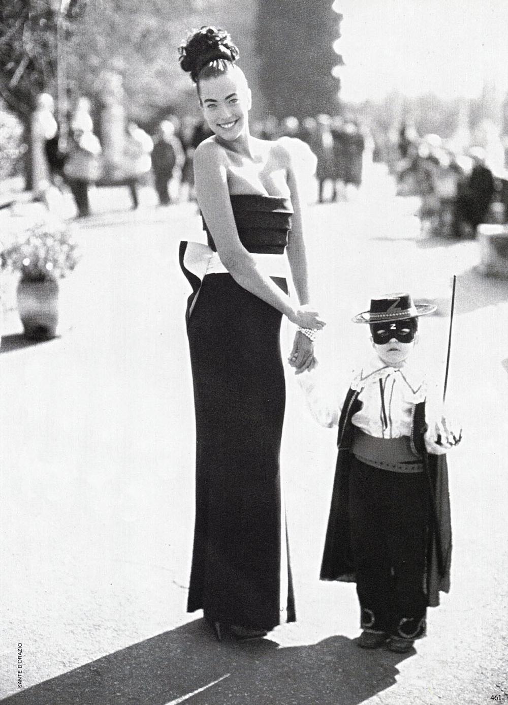 Tatjana Patitz wearing Mila Schon designs photographed by Sante D'Orazio for Vogue Italia March 1986