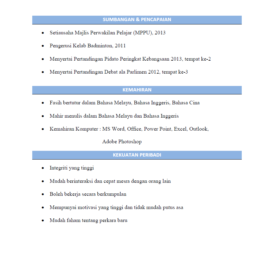 sample resume in bahasa melayu