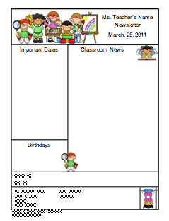 Newsletter+PNG Teachers Pay Newsletter Template on free preschool, owl theme, for first grade,