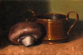 Oil painting of a brown mushroom beside a small copper pot.