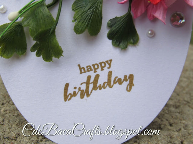 Handmade happy birthday gift tags with flowers and leaves by CdeBaca Crafts Blog
