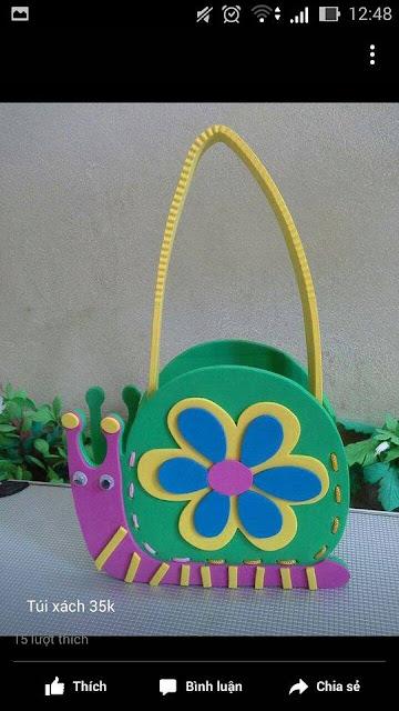 Ide membuat tas menggunakan bahan dasar foam  berbentuk siput