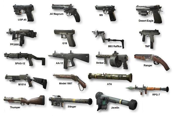 pistol, senapan serbu dan RPG