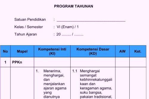 Program Tahunan Prota Kelas 6 Kurikulum 2013 Sekolahdasar Net