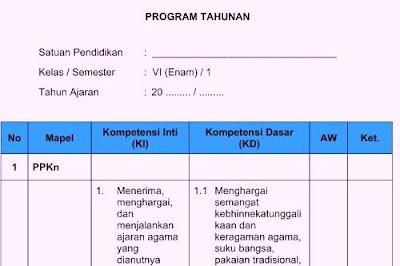Program Tahunan (Prota) Kelas 6 Kurikulum 2013