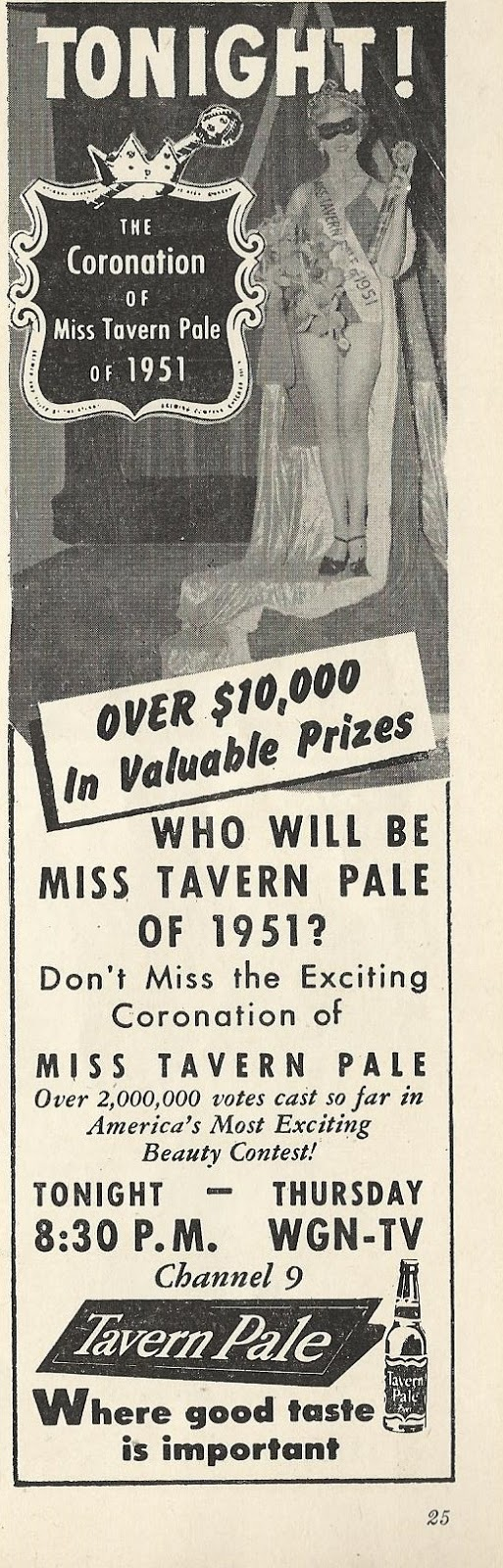 The TV Guide Historian: 1951 Miss Tavern Pale Ad